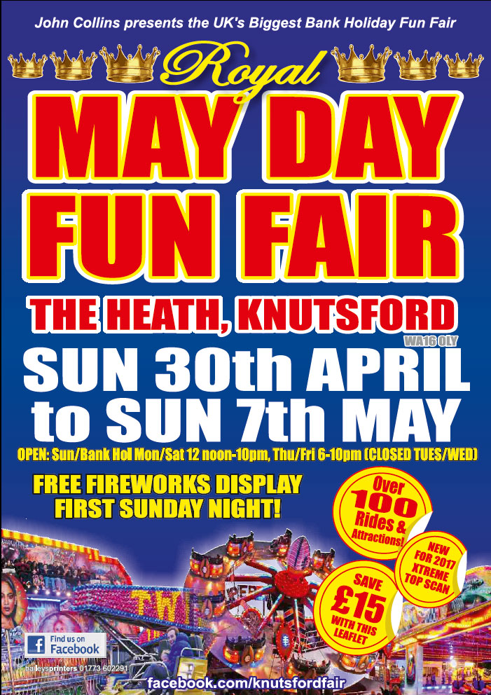 Knutsford Royal May Day Funfair 30th April until 7th May 2017